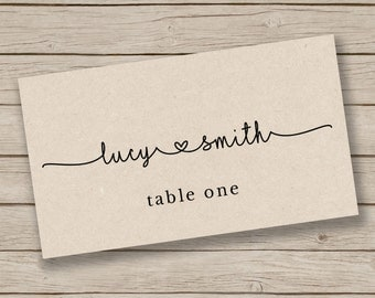Printable Escort Card Template - Place Card Template - Tent Placecards - Rustic Place Cards - YOU EDIT in WORD - Print on Kraft