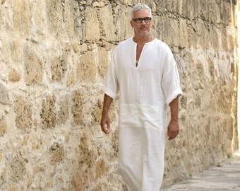 Mens chalk white soft linen caftan with front pocket. Light weight  beach cover up. Hooded or non hooded.