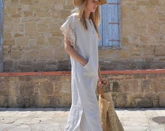 MARGOT long tunic. Women's pure linen long caftan with cotton lace sleeves. Eight different colours.