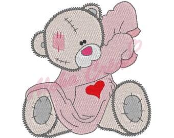 Machine Embroidery Design cute sweety grey teddy bear - Instant Digital Download