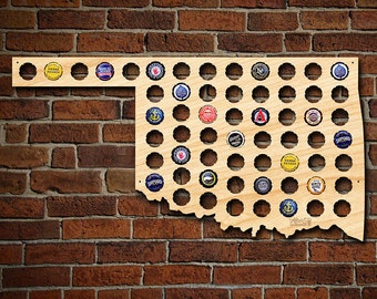 Oklahoma Beer Cap Map - Unique Beer Gifts for Men - Bottle Cap Holder Creates Cool Beer Art! - Great Gift for Sooners and Cowboy Fans