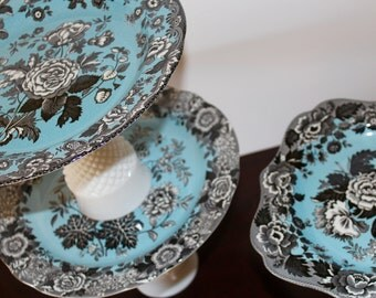 Turquoise Set of Vintage Cake Stand - Milk Glass Cake Stands - Tiered Set of Wedding Cake Stands - Set of 3 Pedestals - Wedding Decor