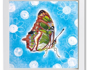 Butterfly with White Flowers on a blue background