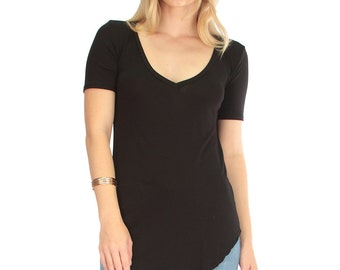 Madly Deep-V Neck Tunic Top