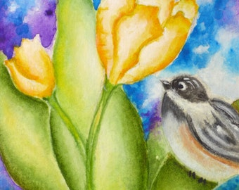 OOAK Artist Trading Card, ACEO Original Watercolor Painting, ACEO Miniature Art Collectible, Chickadee & Tulips Illustration,  Fine Art