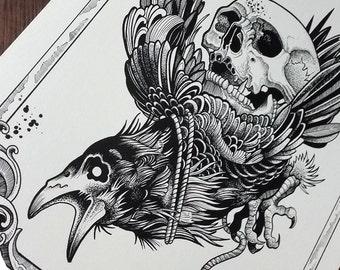 "Tattoo Print - ""Crow Rider"" by Mariusz Romanowicz / art print,dark art,dark,gothic art,skull art,horror art"