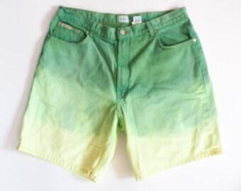 DENIM pastel earth tone CALVIN KLEIN dip dyed shorts size 38