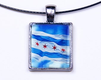 Chicago Flag Photo Necklace