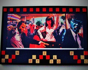"PULP FICTION Pop Art Print Custom Mat Framed With 3D Scrabble Assemblage Over Glass, Tarantino 1994 Movie 12 x 18"" Film Movie Fan Banksy"
