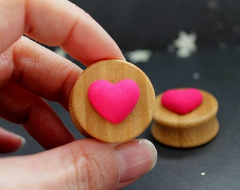 "Pink hearts bamboo  plugs 26mm 1"" 1/16  gauges stretched ears cute love"