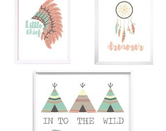 A4 Tribal nursery Collection print