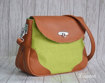 Ready To Ship, An Expandable bag, Linen bag, Handbag /Cross body bag, Brown FAUX leather, Handmade handbags, Spring gift women, Vegan purse