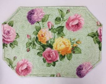 SINGLE Placemat/Rose Print/ Reversible Placemats/ ONLY 3 AVAILABLE