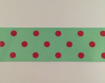ON SALE 1.5 Inch Mint and shocking pink dippy dots ribbon
