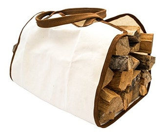 Durable Canvas Firewood Bag With Leather Liner Handmade by Hide & Drink - Swayze Suede