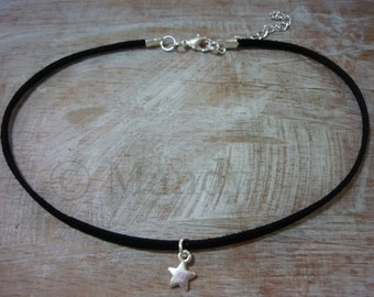Choker necklace chokernecklace black suede with silver star trend