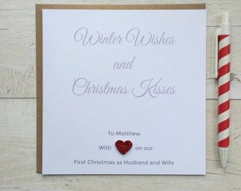 Personalised First Christmas as Husband and Wife, Boyfriend and Girlfriend Christmas Card (LB001)
