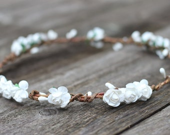Flower Crown Headband White, Flower Crown Halo, White Rose Floral Crown, Bridal Headpiece, First Communion, Flower Girl Crown, Hair Wreath