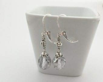 Antique 925 Sterling Silver Faceted Glass Dangly Earrings