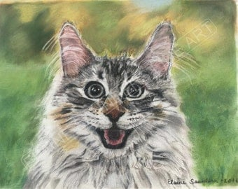 Limited edition 9x12 giclee print of a  smiling Cat