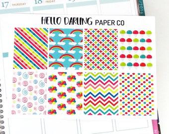 Rainbow Stickers, Erin Condren, Life Planner, Full Box, Planner Stickers, Happy Planner, Full Box Stickers, EC Planner Stickers, F018