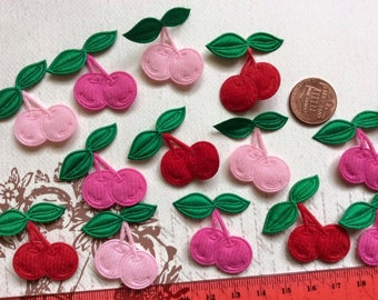 SET of 15 Felt Red/ Hot Pink / Light Pink Padded Cherry Appliques