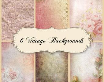 6 ephemera vintage digital papers vo. 2 Shabby Chic
