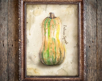 Delicata Squash Watercolor Painting on Rustic Brown Background - Giclée Print of Hand Painted Original Art