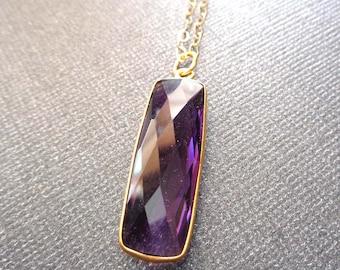 Amethyst Long Bar Necklace / Natural Amethyst Bar Gold Bezel / Long Amethyst Bar/ February Birthstone / Purple Gold Necklace //BE17