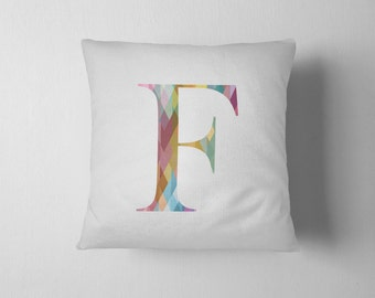 Initial letter throw pillow - Prisma Diamonds - multi color pattern