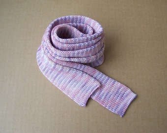 knit skinny shades of rose and lilac colors OOAK cotton necktie