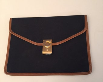 Pocket vintage canvas and leather hand bag vintage Celine Céline