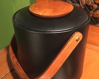 George Briard Ice Bucket / Mid Century Barware / Vintage Ice Bucket /Retro Vinal and Teak Bucket / Cool Mid Century Ice Bucket