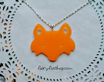 Orange fox resin necklace