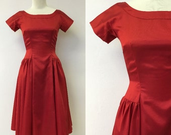 1950's Ruby Red Party Dress