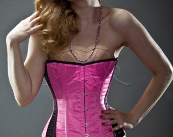 Black and pink satin steel-boned overbust authentic corset. Bespoke made to your measurements. Affordable cheap waist training gothic corset