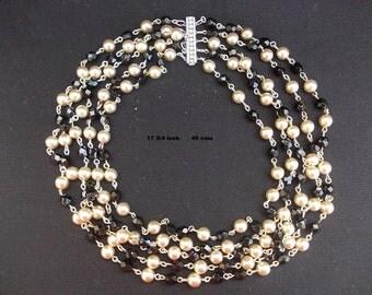 Vintage 5 strand bead necklace
