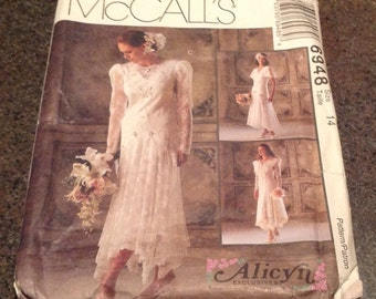 McCall's Sewing Pattern 6948 Bridal Gown Wedding Dress Bridesmaid's Country Victorian Flapper Lace  Size 14