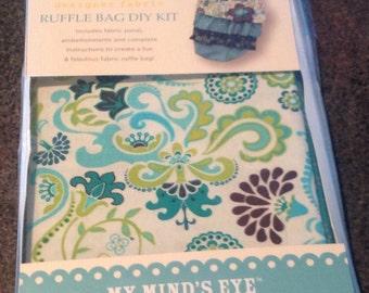 See Me Sew My Mind's Eye Blue Ruffle Bag DIY Kit Designer Fabric