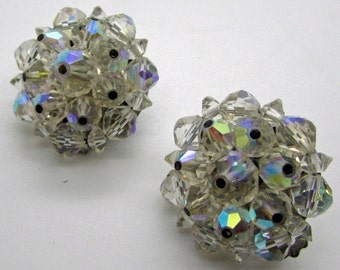 Vintage  Laguna Aurora Borealis  Clip On  Earrings Austria Crystals AB Cluster Rainbow Button Designer Signed Mid Century