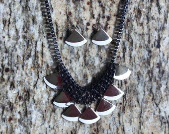 "Customized Chain & Leather Necklace 18"" and earrings."