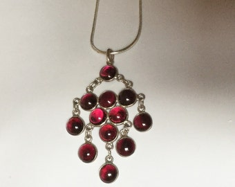 Sterling Silver Garnet Necklace 24""