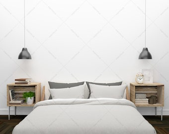 Blank Wall art / blank wall interior / white wall interior / white wall mockup / interior mockup / bedroom interior mockup / bedroom mockup