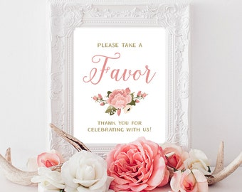 PRINTABLE Wedding Favors Sign | 8x10, 5x7 Vintage Peony Wedding Favors Print | Pink & White Favors Reception Print INSTANT DOWNLOAD