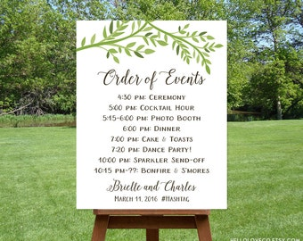 PRINTABLE Wedding Order of Events Sign, Custom Wedding Schedule Sign, Green Leaves Wedding Itinerary, Leafy Forest Wedding, DIGITAL