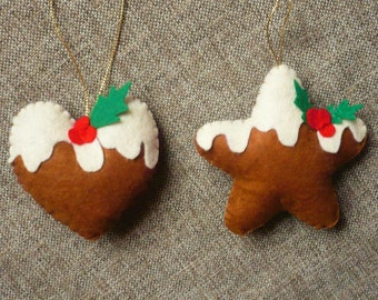 Ginger Cookie Tree Ornaments/ Christmas Ornaments/Christmas Decorations/Christmas Cookies/Felt Christmas Ornaments/Felt Cookies