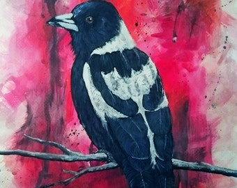 GICLEE PRINT of acrylic Magpie painting, Bird Art