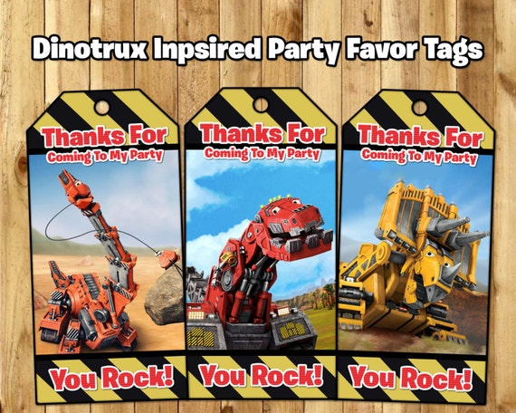 Dinotrux inspired Favor Tags - Dinotrux Birthday Party Favor Tags - Download Print Dinotrux Loot Bag Tags Dinotrux Favor Tags