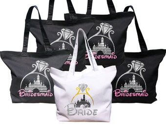 Disney inspired Bride and Bridesmaids, Mother in Law and Brides mothers bags with glitter castle and text.