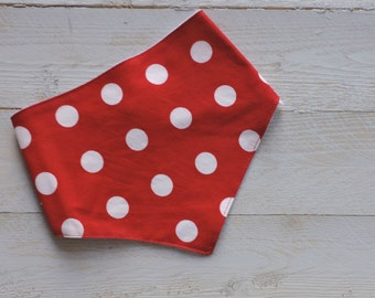 Bandana Bib - Red & White Polka Dots